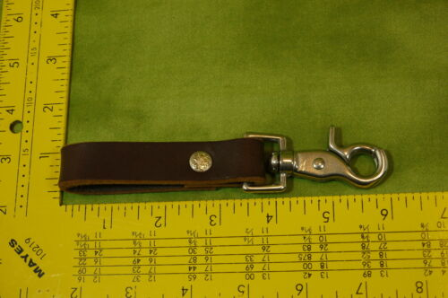 Brown Leather Key Fob Belt Loop for Keys  accessories Stainless Steel Clip Snap