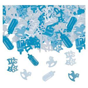 Decorazioni tavolo confetti coriandoli azzurri addobbi - Addobbi tavolo battesimo ...