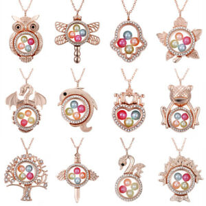 Rose-Gold-Living-Memory-Floating-Locket-Family-Charm-Pearl-Cage-Pendant-Necklace