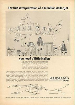 "Aviation Other Airline Collectibles 1962 Alitalia Airlines Print Ad A ""little Itaian"" Kid's Pic Of Jet Fun Kid Decor Superior Performance"