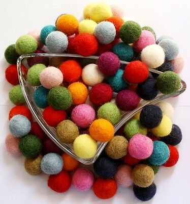 Bright Pom Pom Felt Balls 2 cm Pure wool Nursery Craft Christmas Garland Making