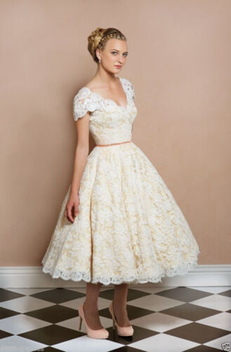 Vintage Cap Sleeve V Neck Short Lace Wedding Dress Bridal Gowns Custom Size 6-18