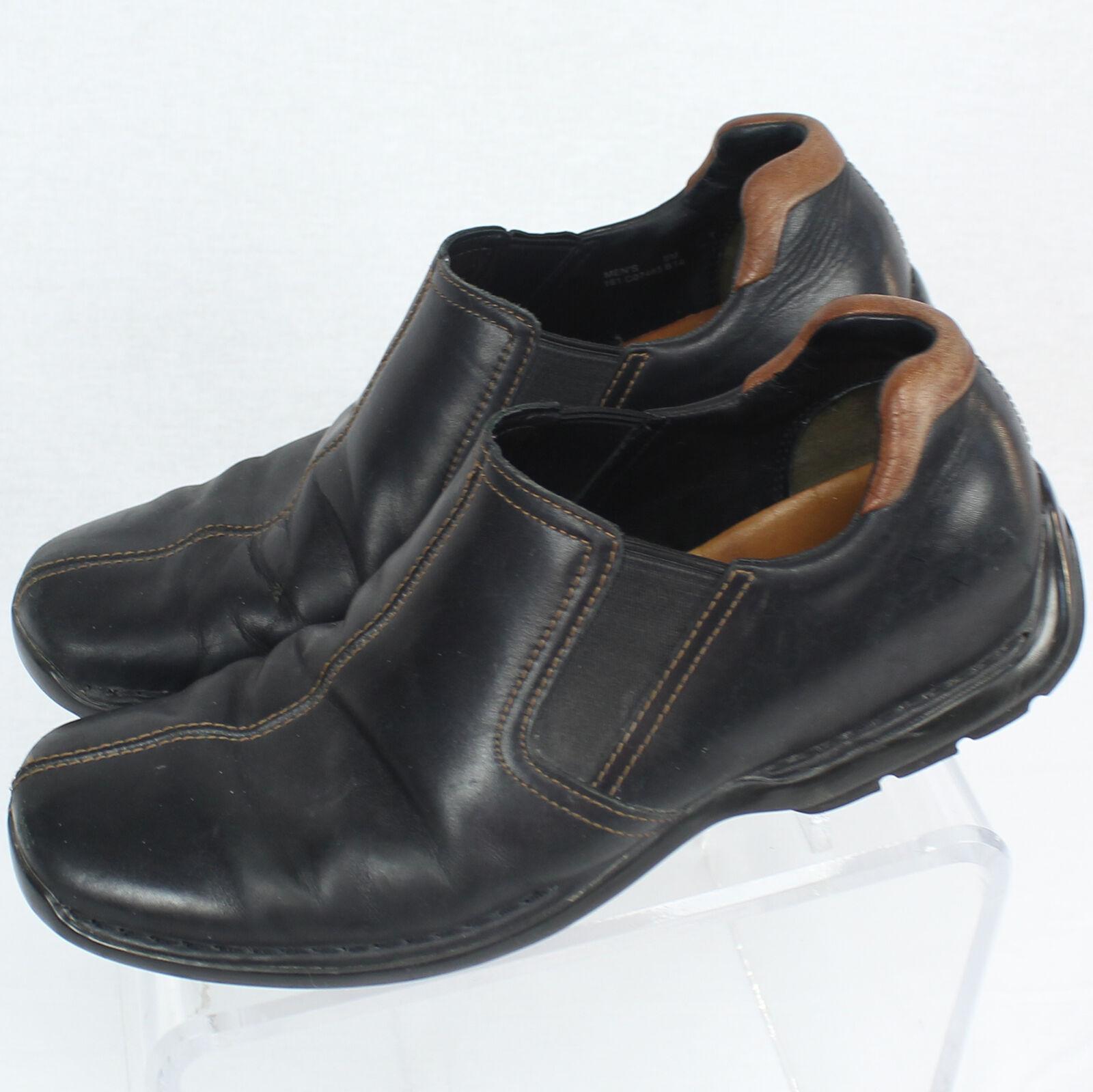 Cole Haan Men Solid Black Leather Slip On shoes Sz 9 Medium Width EUC