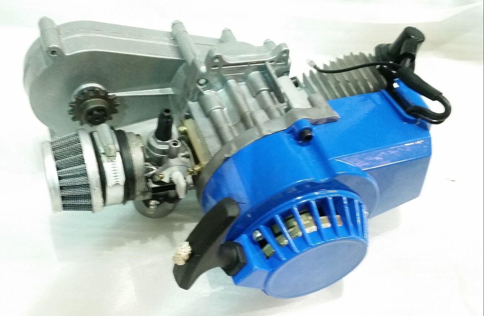 49CC MINI DIRT BIKE COMPLETE ENGINE WITH TRANSFER BOX blueE PULL START MINI MOTO