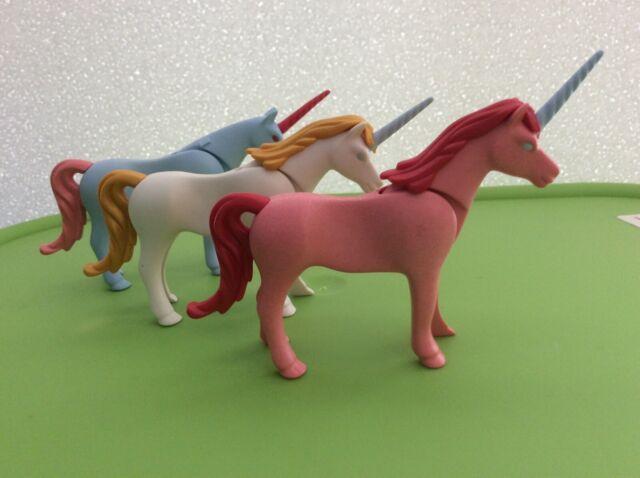 playmobil fairy unicorn set of three blue white pink