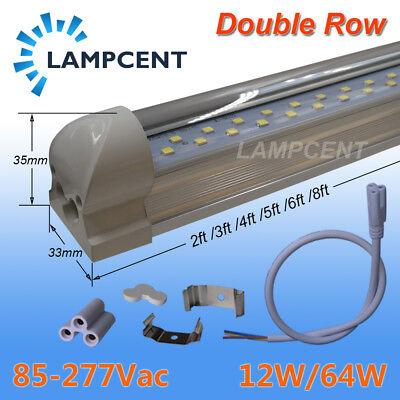 T8 LED Tube Lights Bulb Integrated Double Row 2FT 3FT 4FT 5FT 6FT 8FT 15//20 Pack