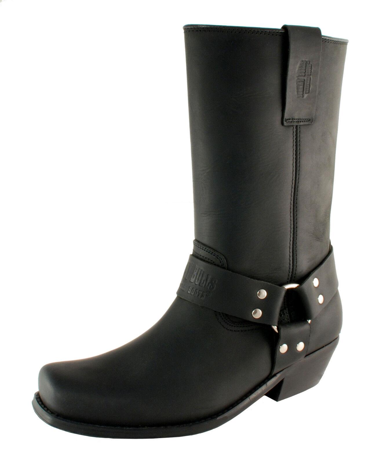 botas Motocicleta para hombre de cuero negro de vaquero nosotros tamaño 11 hecho en España Johnny Bulls