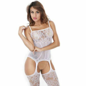 7518c11443d Image is loading White-Sexy-Sling-Open-Crotch-Body-Stocking-Fishnet-
