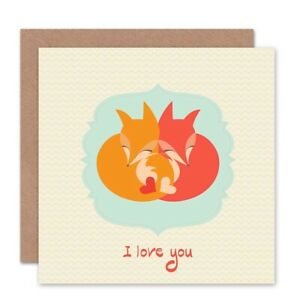 Fox-Love-Cartoon-Valentines-Hearts-Blank-Greeting-Card-With-Envelope