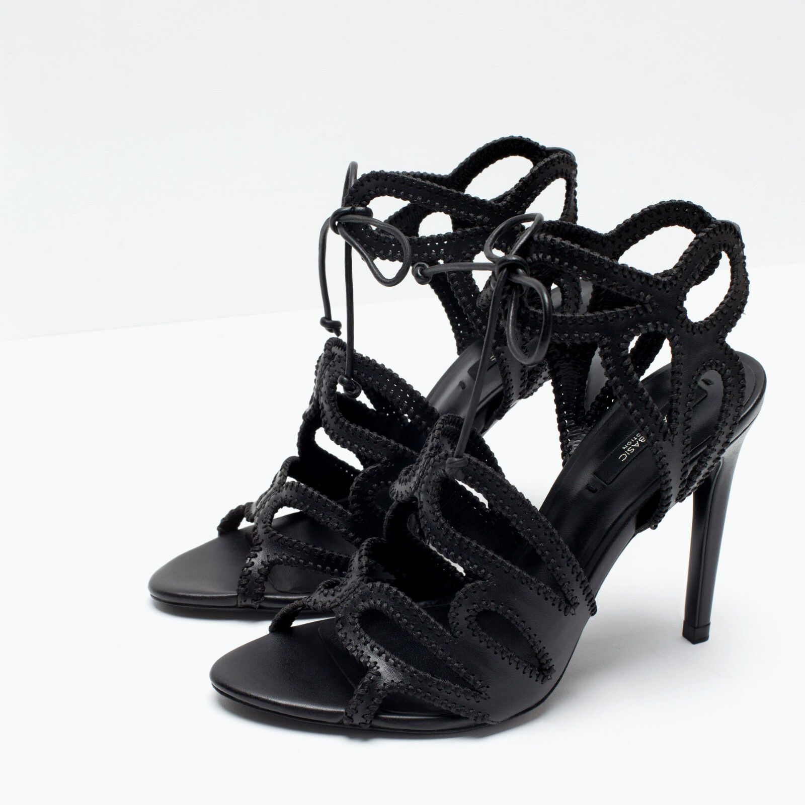 ZARA BLOGGERS BLACK CUTOUT HIGH ALL HEEL LACE UP SANDALS ALL HIGH SIZES e1c9d1
