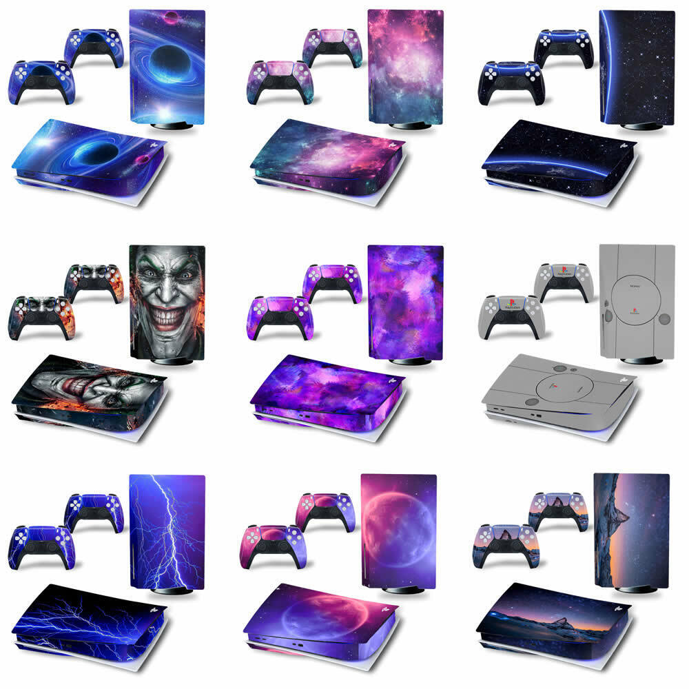 PLAYSTATION 5 PS5 CONSOLE SKIN STICKER + 2 CONTROLLERS DECAL WRAP COVER (DISC )