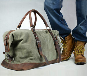 Vintage Retro Men Genuine Leather canvas duffle weekend bag ...