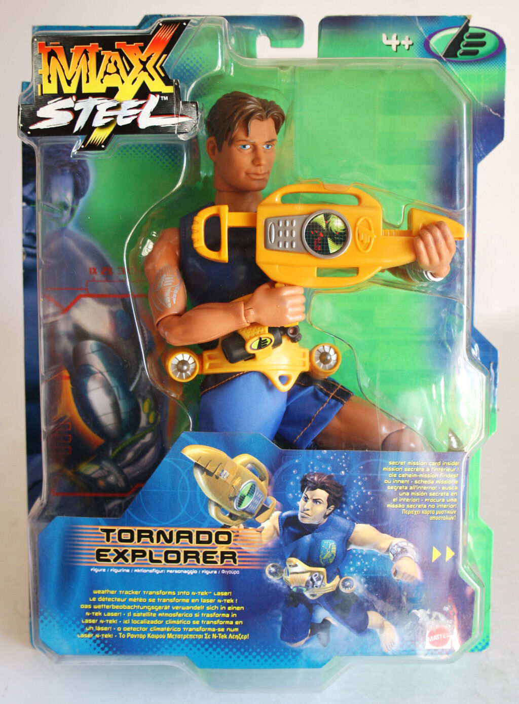 VERY RARE MAX STEEL TORNADO EXPLORER FIGURE MATTEL 2000 EUROPEAN NEW MOSC