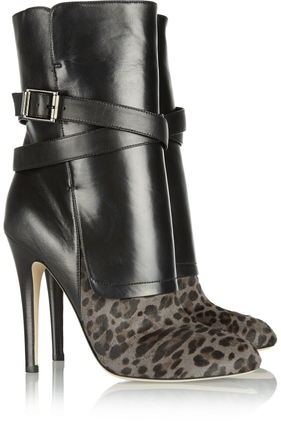 Jimmy Choo Leopard-Print Calf Hair And Nappa Leather Leather Leather Buckle Ankle Stiefel 40.5 418dc2