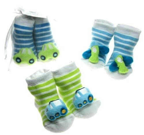 Baby Rattle Socks Boys Cars Bus Planes Green Blue White Babies 0-6 M Soft Touch