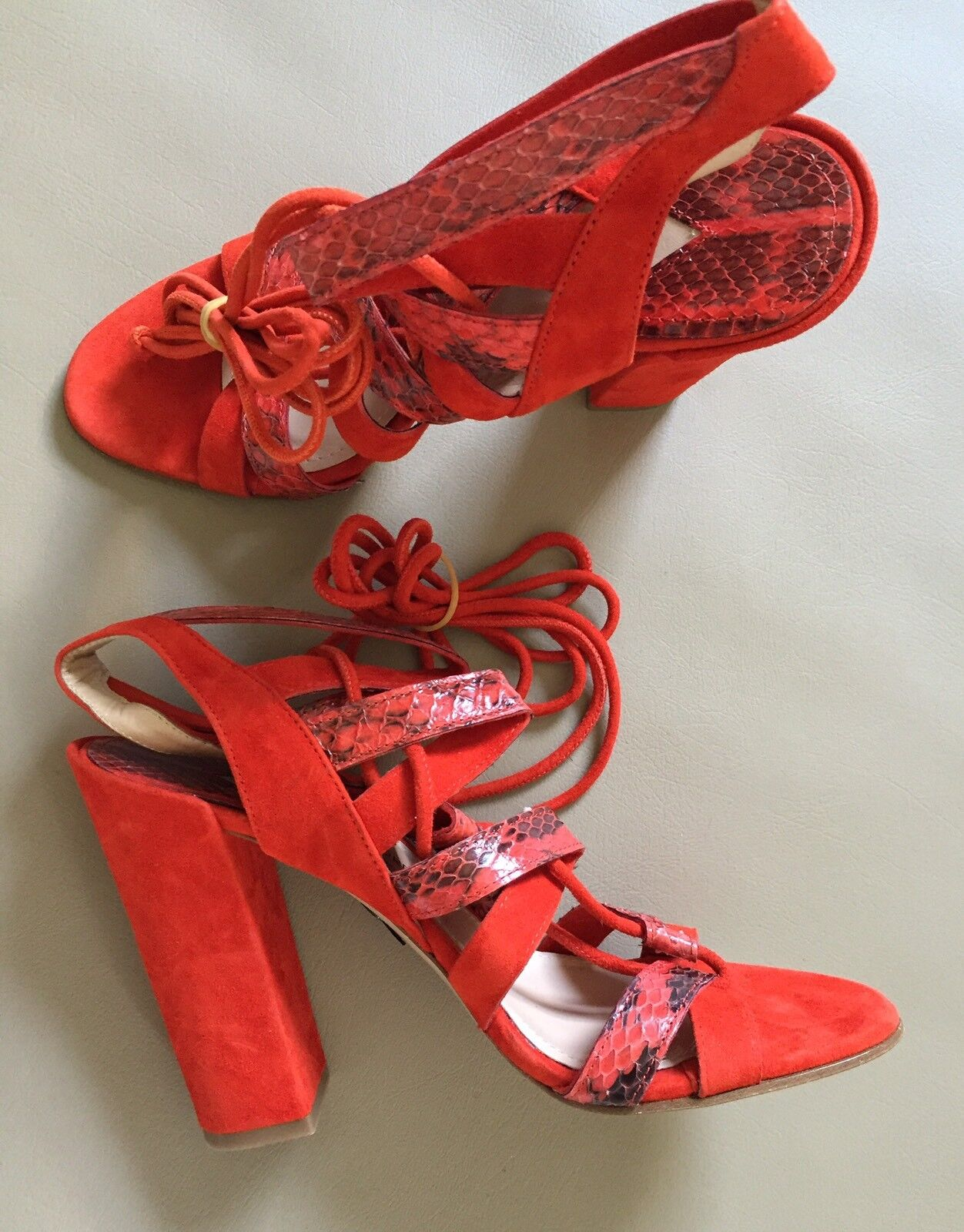 NEW PAUL ANDREW FOR J CREW LACE UP HIGH HEEL SANDALS SZ 7 RED LEATHER