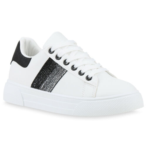 Damen Sneaker Low Glitzer Turnschuhe Schnürer Freizeitschuhe 833078 Schuhe