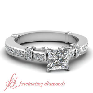 80-Ct-Princess-Cut-SI2-Diamond-Tilted-Band-Engagement-Ring-With-Round-Accents