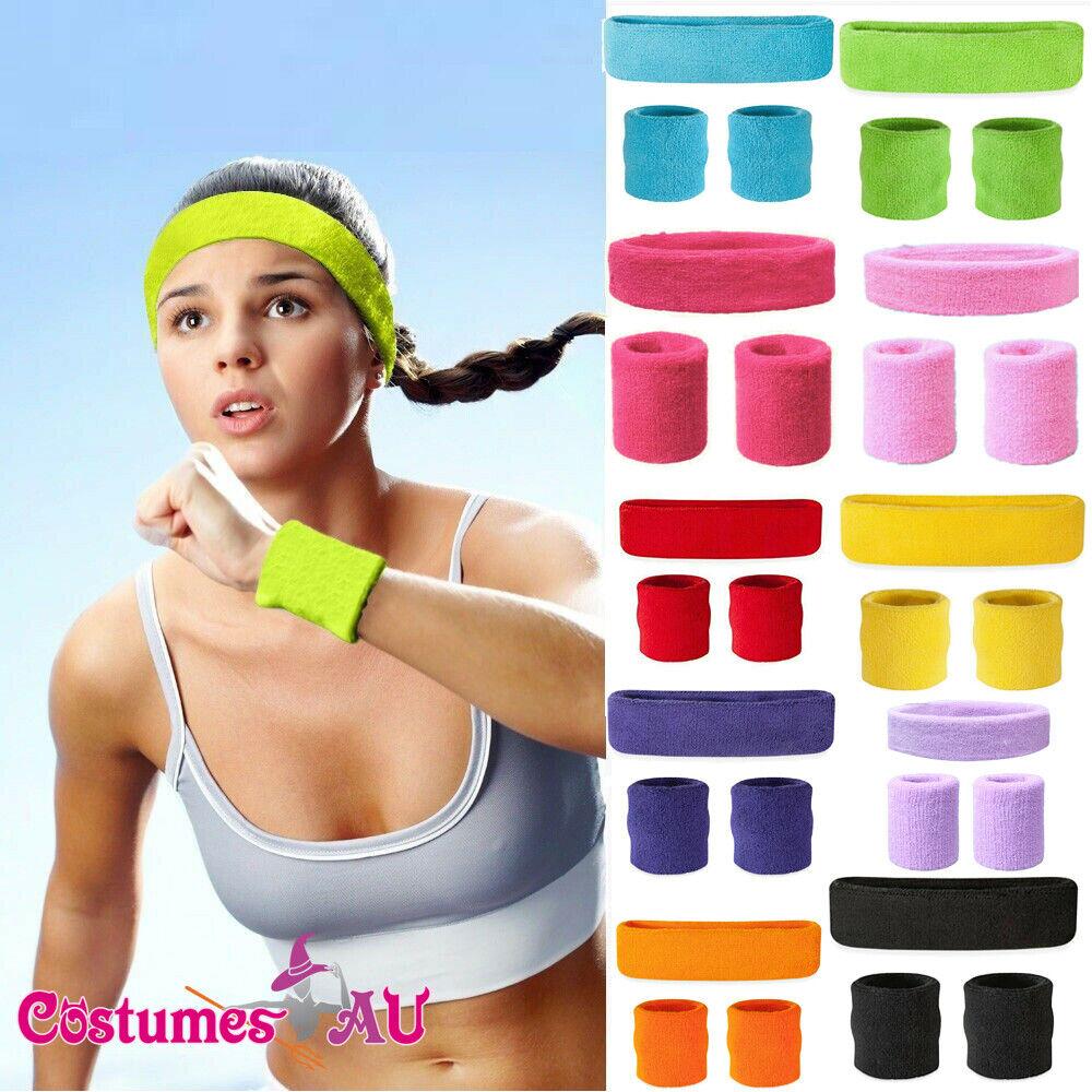 80S Wristbands Headband Exercise Sports Sweatbands Sweat Band Tennis Yoga Disco