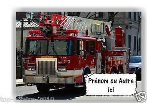 sur bois  Camion de  Pompier  N° 96  avec prénom ou texte Plaque de porte en