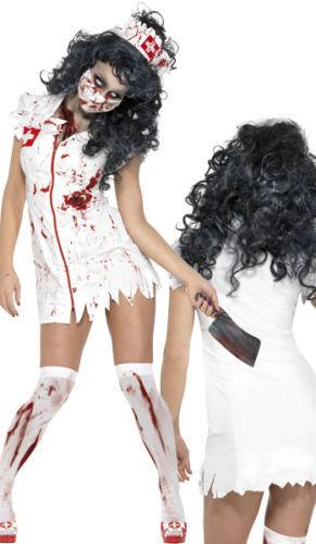 Halloween Zombie Nurse Costume Ladies Womens Scrubs Fancy Dress Adult XS-L