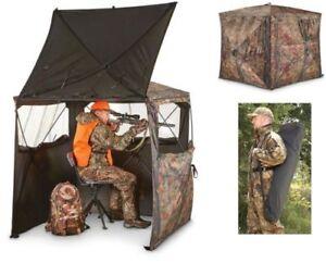 Pop Up Hunting Ground Blind 2 Man Camo Portable Lightweight Big Game Deer Tent