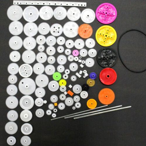 106Pcs Plastic Motor Gear Rack Pulley Worm Single Double Gearbox for DIY Robot