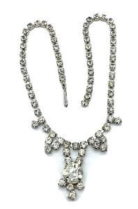 Vintage Rhinestone Choker Necklace Prong Set Clear Rhodium Plate Bridal Prom B10