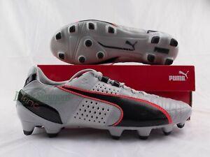 NEW-Puma-King-II-FG-Leather-Football-Boots-Grey-Black-Red