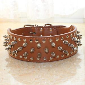 Spiked-Studded-PU-Leather-Large-Pet-Dog-Collar-Pitbull-Mastiff-Bully-10-Colors
