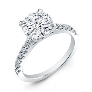 2.30 Ct Round Cut Moissanite Engagement Ring 14K Solid White Gold ring Size 6
