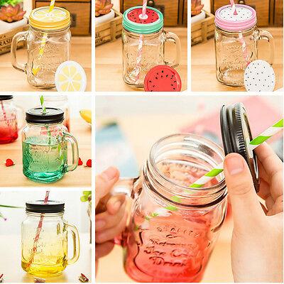 500ml Vintage Chic Jar Handle Lid Straw Drink Glass Mug Party Wedding Home Decor