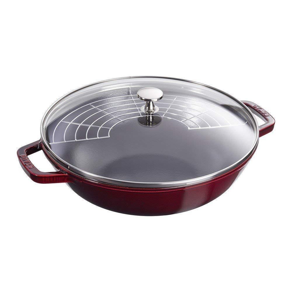 Staub 1312987 Cast Iron Perfect Fry Pan, 4.5 Quart, Grenadine, 12-Inch
