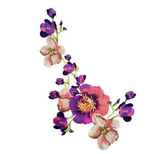 New Embroidered Peony Flower Applique Iron On Sew On Patch Dress Clothing DIY