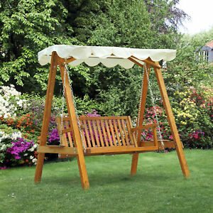 2 Seater Wooden Wood Garden Swing Chair