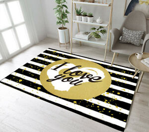 Black White Striped I Love You Pattern Area Rugs Bedroom Living