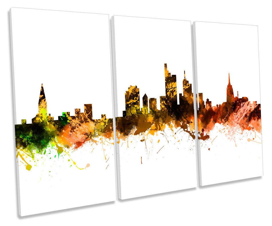 Frankfurt Germany Stadt Skyline TREBLE CANVAS Wand Kunst Box Framed Drucken