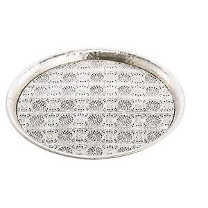 schale tablett aus metall mit ornamentmotiven durchbrochen silber rund 50cm ebay. Black Bedroom Furniture Sets. Home Design Ideas