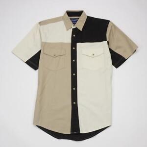 WRANGLER-WESTERN-WEAR-Pearl-Snap-VTG-WESTERN-Cowboy-Shirt-Short-Sleeve-Mens-S