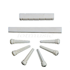 1-SET-Of-Acoustic-Guitar-Bone-Bridge-Pins-Nut-blank-Saddle-Real-Bone-Guitar-Part