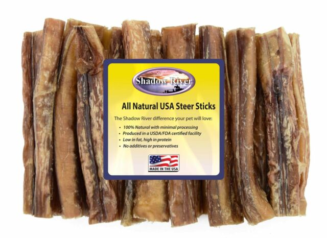 "25 Count 6"" JUMBO Shadow River USA STEER Bully Sticks Dog Treats Chew"
