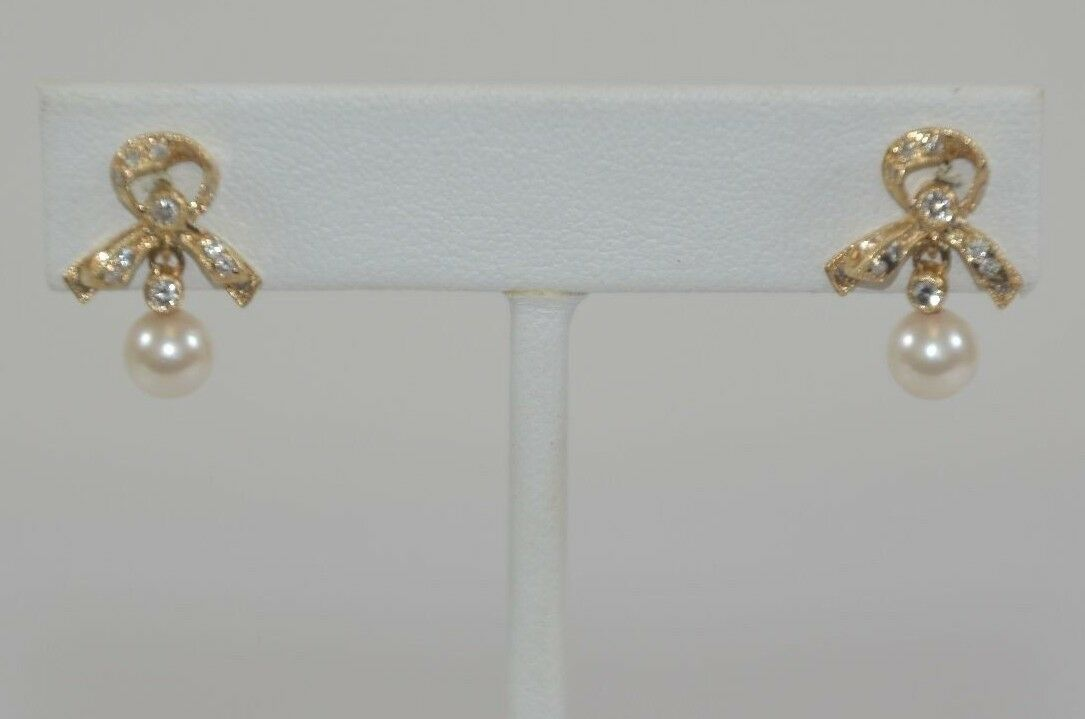0.30 ct Bow Shape Drop H-I Diamond Pearl earring 14K Yellow gold Retail  2899