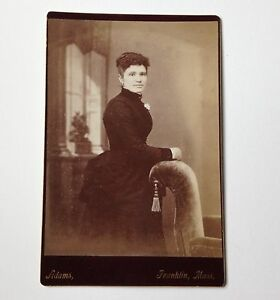 Cabinet-Card-Photo-Franklin-MA-Adams-Woman-Antique-Couch-with-Tassel