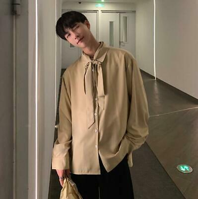 Mens Chiffon Mixed Colors Lapel Long Sleeves Casual Shirts Slim Blouses Tops D71