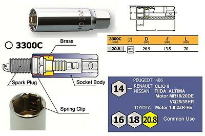 Ko-Ken Spark Plug Socket with Spring Clips Socket 20.8mm (13/16 inch)