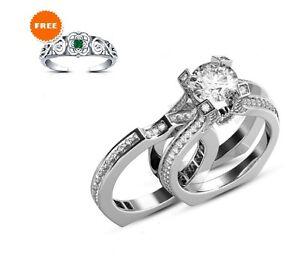 Diamond Engagement Ring Wedding Band White Gold Over 925 Silver Bridal Ring Set