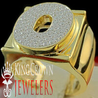 Mens Big Bold 10k Yellow Gold On Real Silver Initial Letter O Simu Diamond Ring