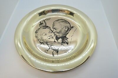6 OZ..925 STERLING NORMAN ROCKWELL CHRISTMAS PLATE 1973 TRIMMING THE TREE