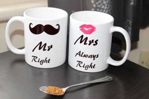 """Coffee Mugs His and Hers Matching Coffee Tea Cups /""""Mr Right-Mrs Always Right"""