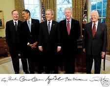 Barack Obama Clinton Jimmy Carter George Bush Autograph 8 x 10 Photo Picture